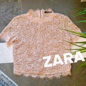Blush laced Zara blouse